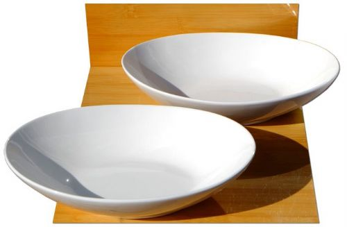Oval shaped food white ceramic bowls L22.5cm x W16cm x H5cm for 2